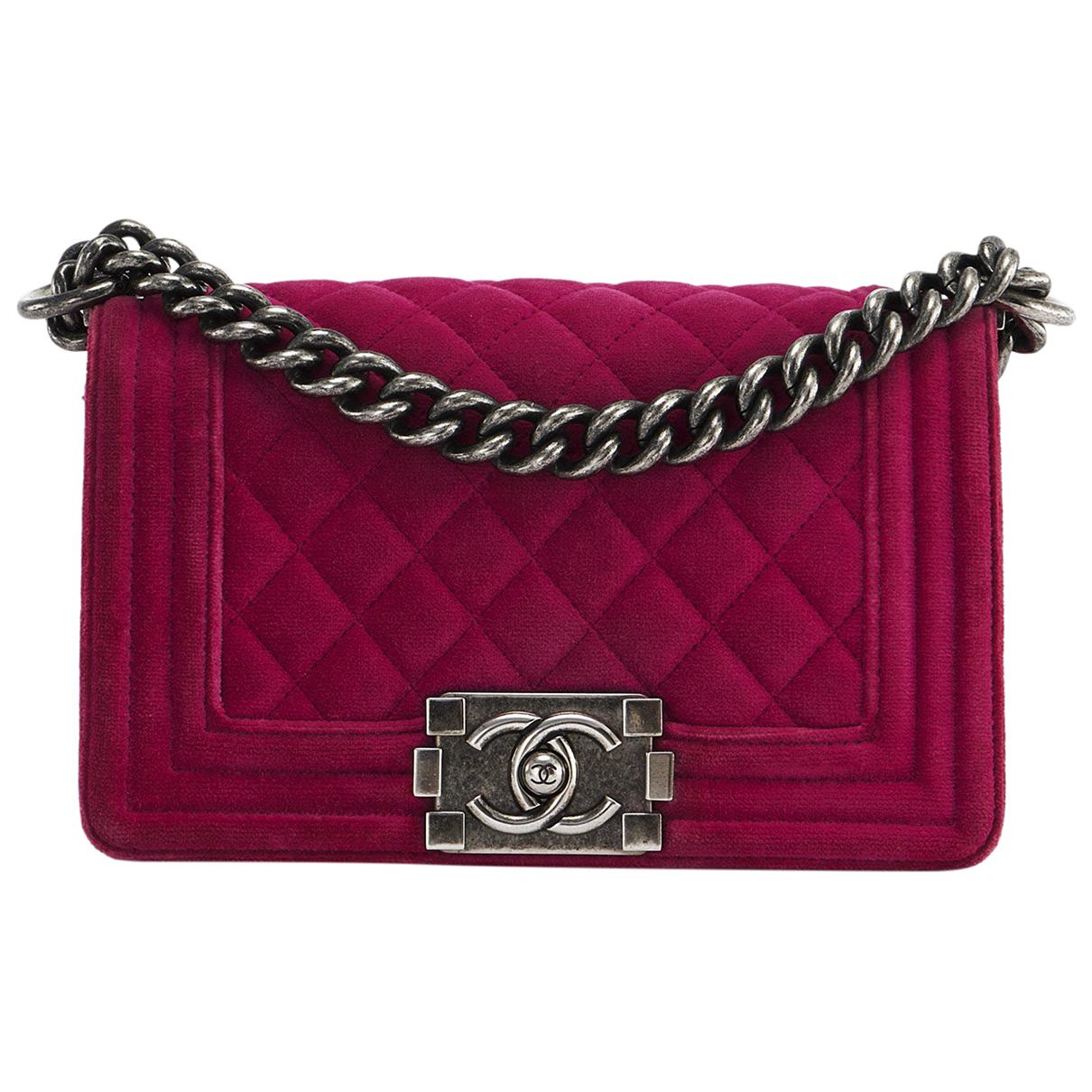Chanel - Sac a main Boy pour femme en velours - rose