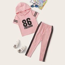 Pink Seitenstreifen Gestreift Sportlich  Kleinkind Maedchen zweiteilige Outfits
