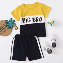 Toddler Boys Letter And Color Block Tee & Shorts