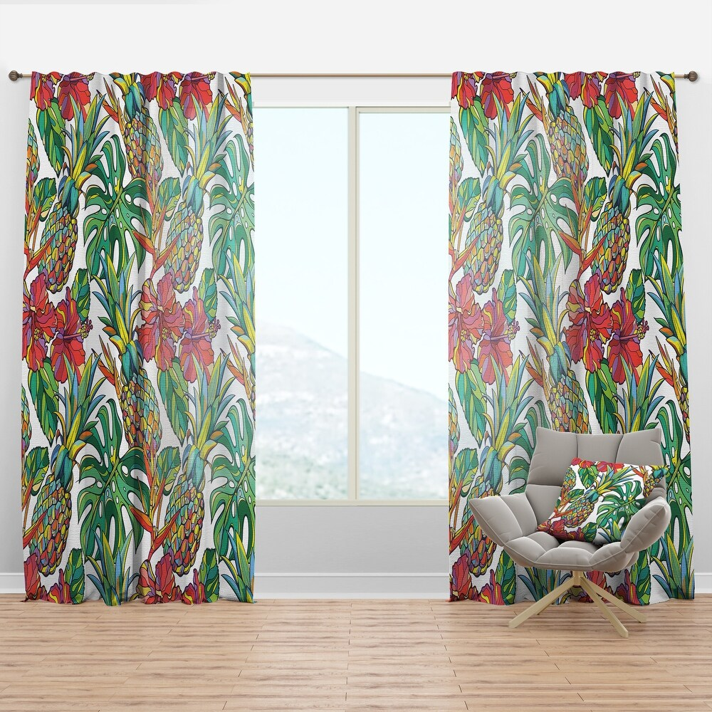 Designart 'Colorful Tropical Pattern' Tropical Curtain Panel (50 in. wide x 108 in. high - 1 Panel)
