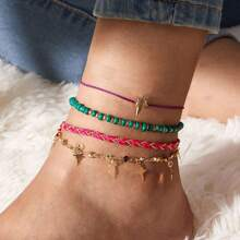4pcs Star Charm Braided Anklet