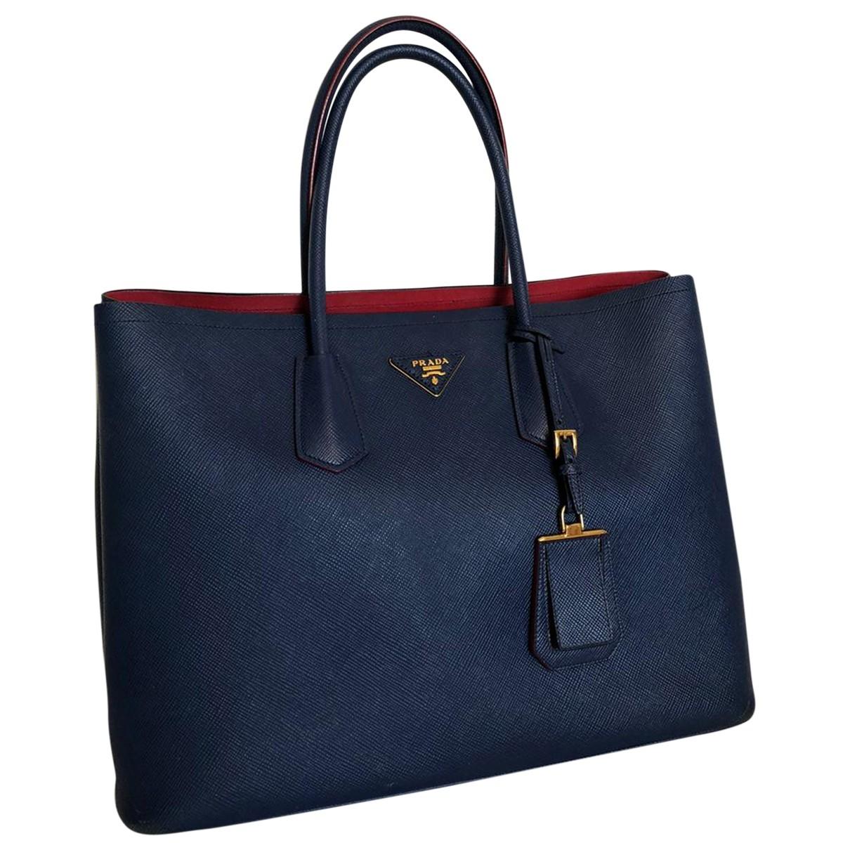 Prada Bibliothèque Blue Leather handbag for Women \N