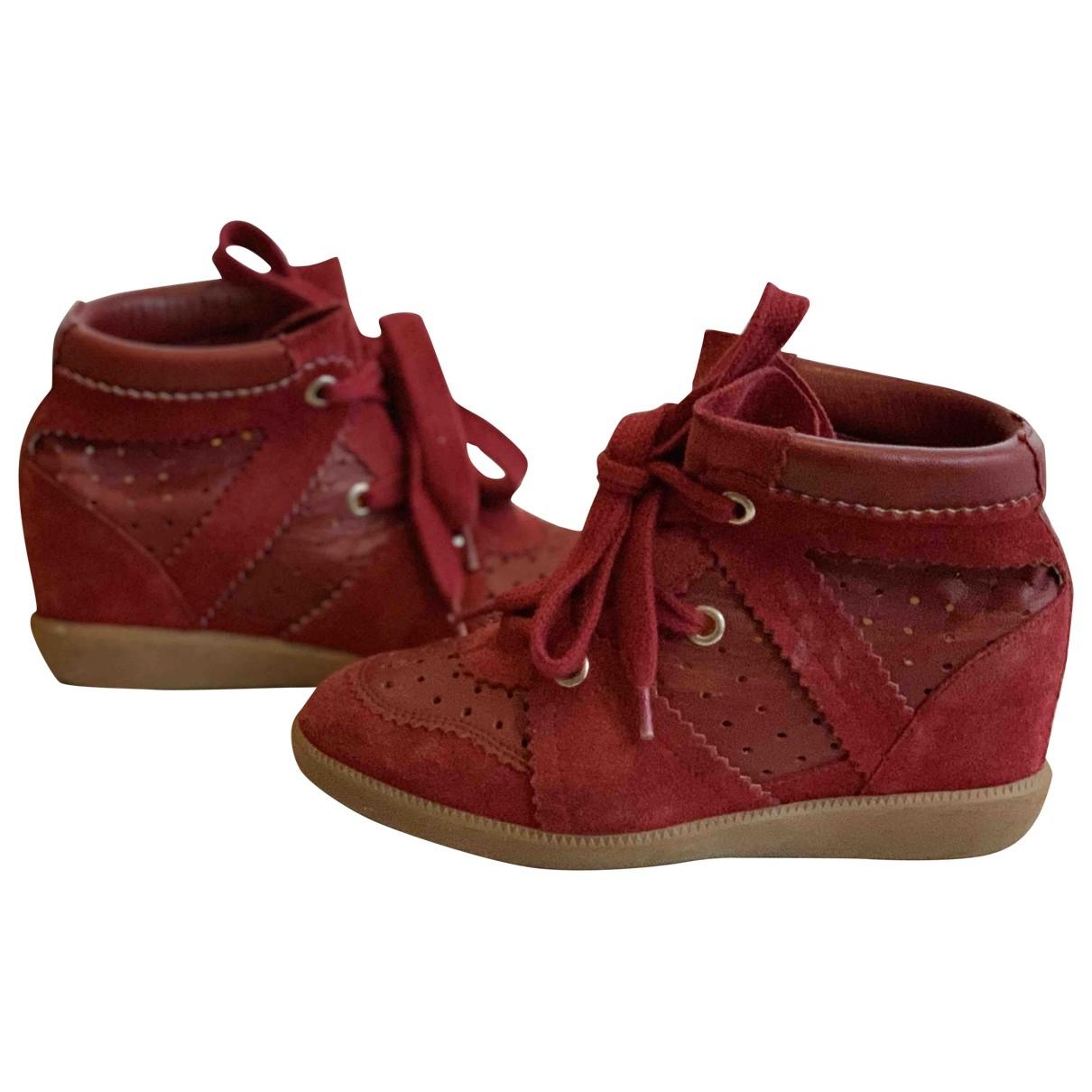 Isabel Marant - Baskets Betty pour femme en suede - rouge