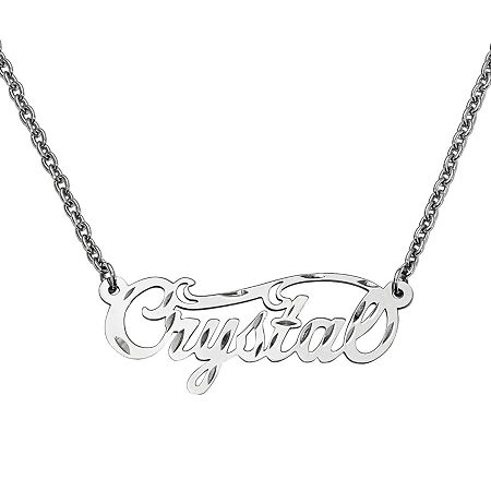 Personalized 14x37mm Diamond Cut Swirled Name Necklace, One Size , White