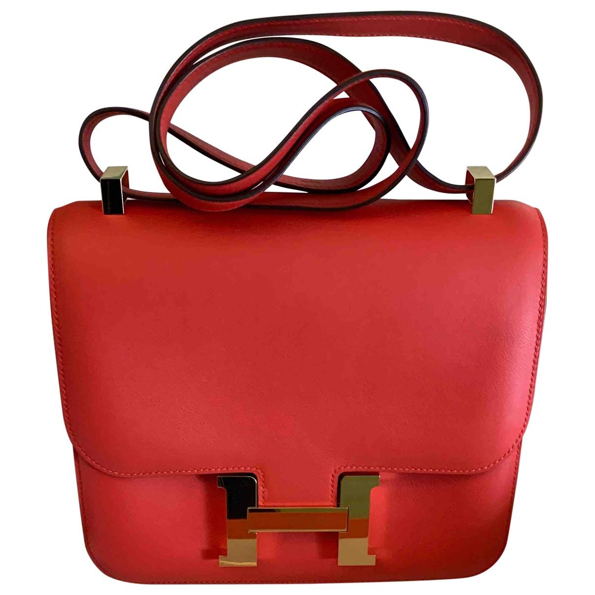Hermes - Sac a main Constance pour femme en cuir - rouge