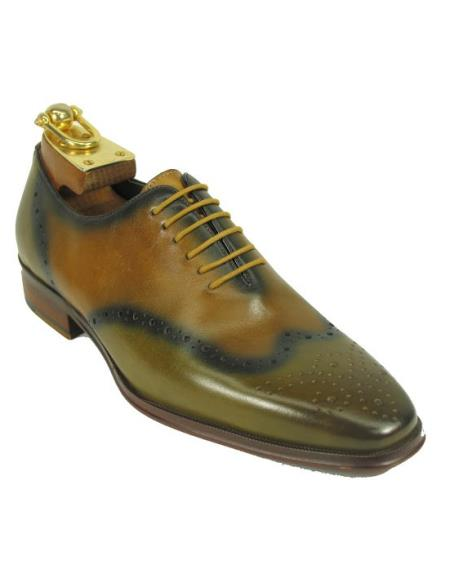 Men's Wing Toe Lace Up Style Fashionable Green / Brown Due Tone Shoes