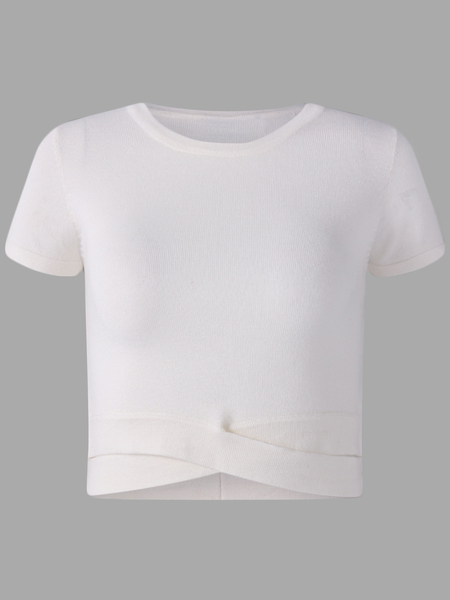 Yoins Active Round Neck Cut Out T-shrits in White