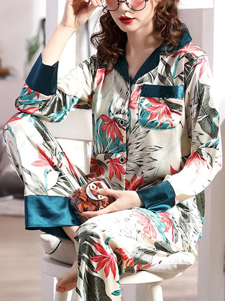 Women Vintage Floral Print Lapel Faux Silk Loose Lounge Home Long Sleeve Pajamas Set