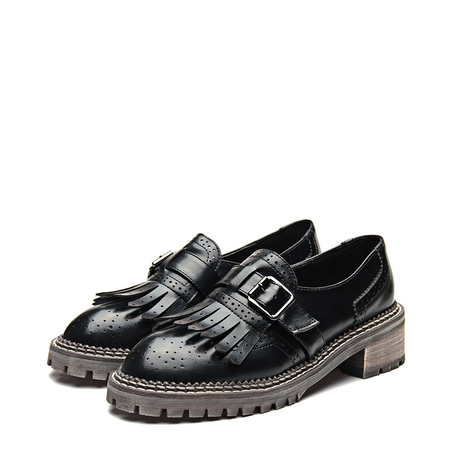 Yoins Black Leather Look Round Toe Tassel and Buckle Slip-on Loafers
