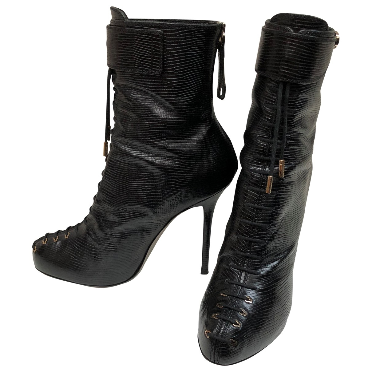 Sergio Rossi \N Black Exotic leathers Ankle boots for Women 38.5 EU