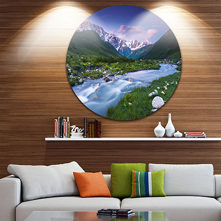 Design Art River in Caucasus Mountains Circle Metal Wall Art, One Size , Blue