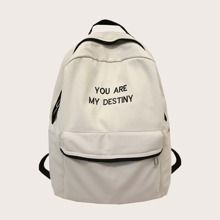 Pocket Front Letter Embroidery Backpack