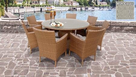 Laguna Collection LAGUNA-60-KIT-8-ASH Patio Dining Set with 1 Table   8 Arm Chairs - Wheat and Ash