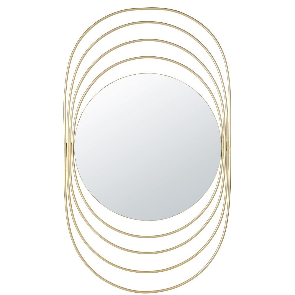 Spiegel mit Ringen aus Metall, goldfarben 69x117