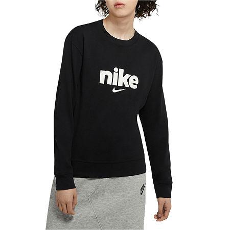 Nike Womens Crew Neck Long Sleeve T-Shirt, Xx-large , Black