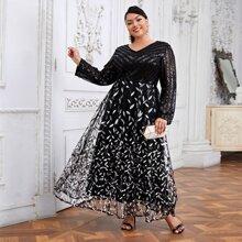 Maxi Kleid mit Blatt Stickereien, Kontrast Pailletten und Netzstoff