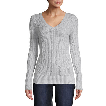 St. John's Bay Cable Womens V Neck Long Sleeve Pullover Sweater, Petite Small , Gray