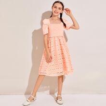 Girls Puff Sleeve Shirred Bodice Guipure Lace Dress