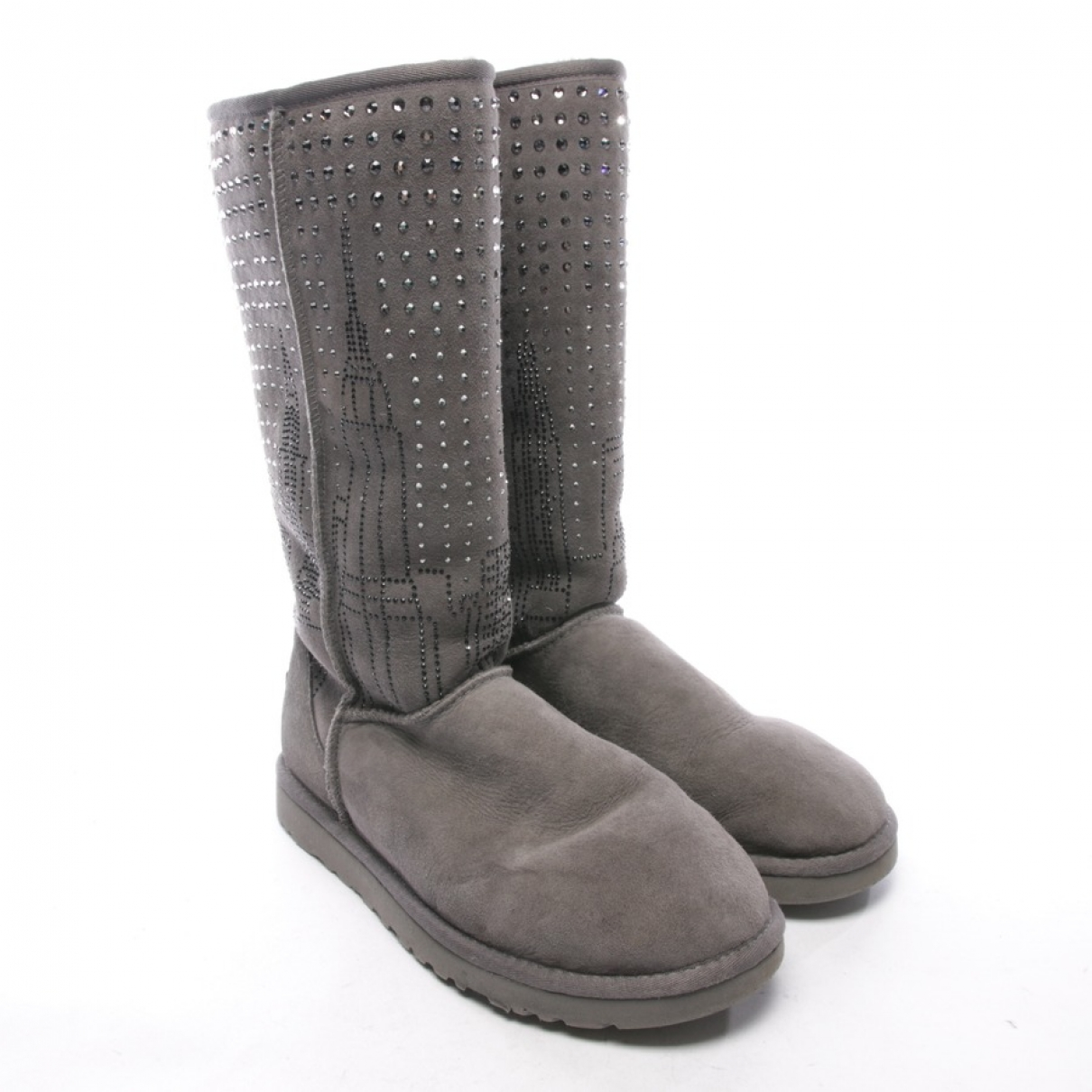 Ugg \N Grey Leather Boots for Women 40.5 EU