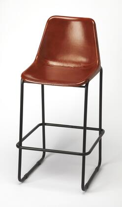 Myles Collection 4348344 Bar Stool with Modern Style  Rectangular Shape  Iron Metal Material and Leather Uphlostery in Brown Leather