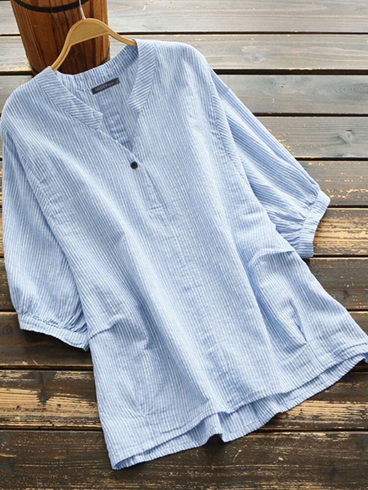 Striped Print Half Sleeve Plus Size Shirt for Women