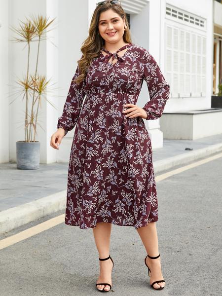 YOINS Plus Size Red Random Floral Print Long Sleeves Dress