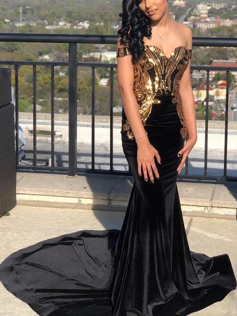 Ericdress Floor-Length Off-The-Shoulder Trumpet/Mermaid Sequins Formal Dress 2020