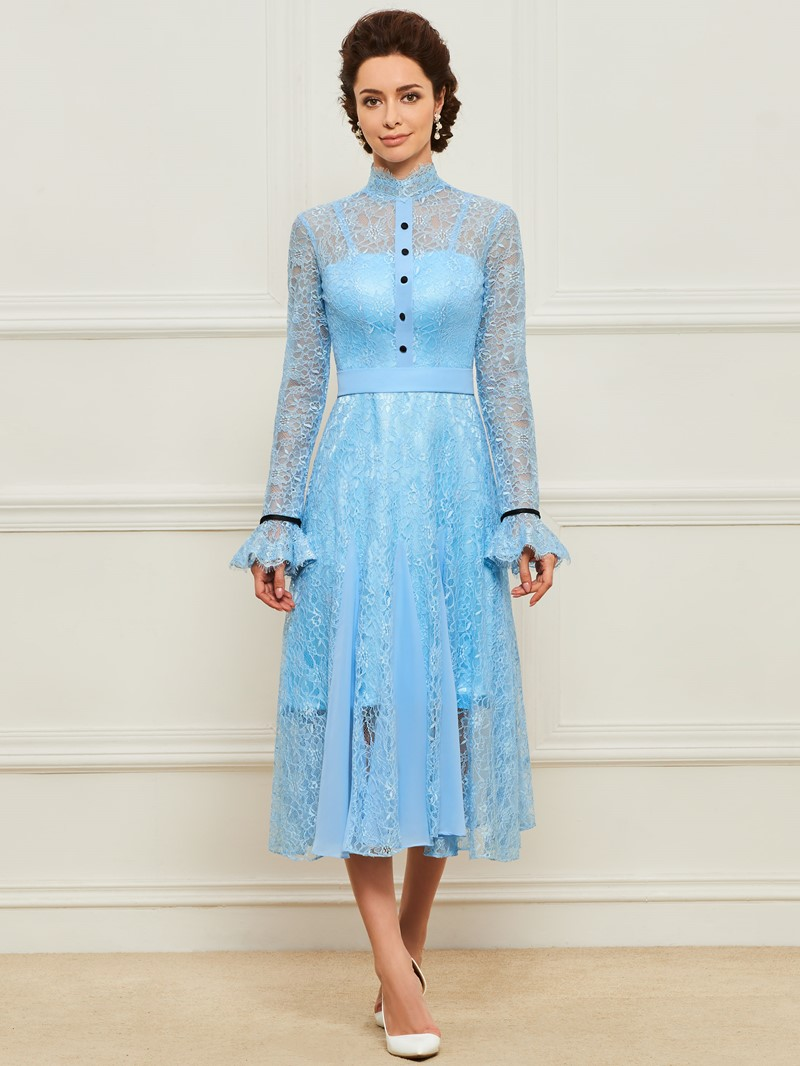 Ericdress High Neck Lace Tea Length Mother of the Bride Dress