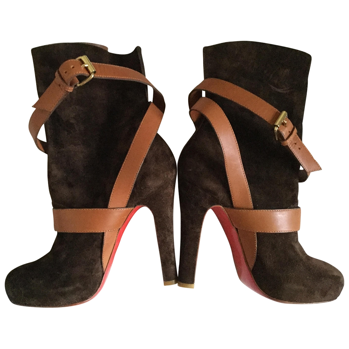Christian Louboutin \N Brown Suede Ankle boots for Women 38 EU