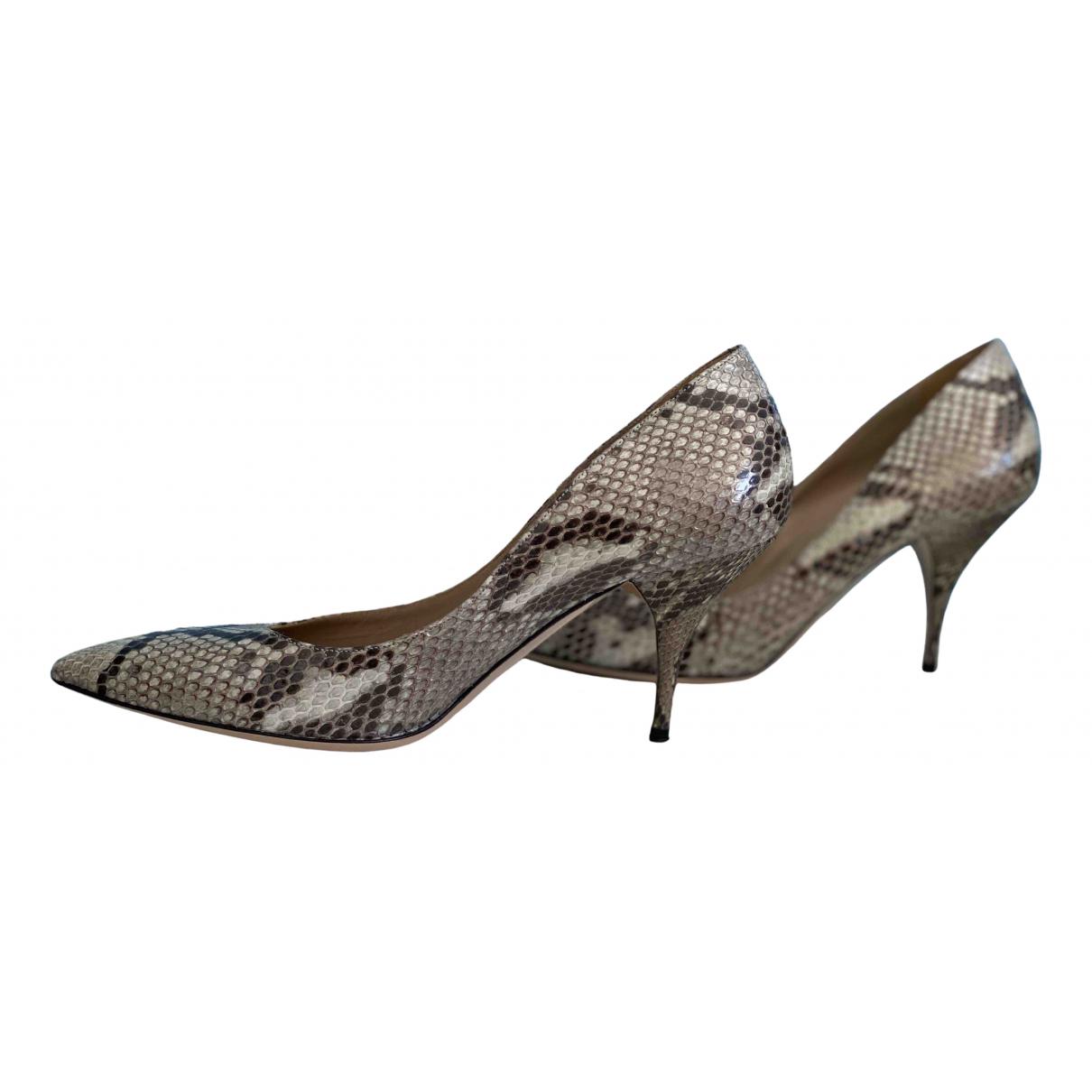 Valentino Garavani - Escarpins   pour femme en cuir - gris