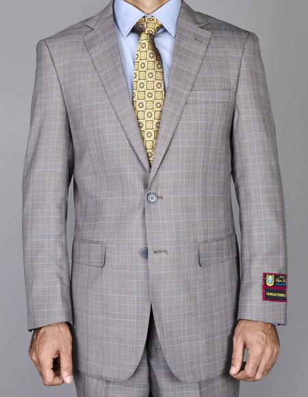 Men's Windowpane Single Giorgio Fiorelli Brsuits Flat Front Pants