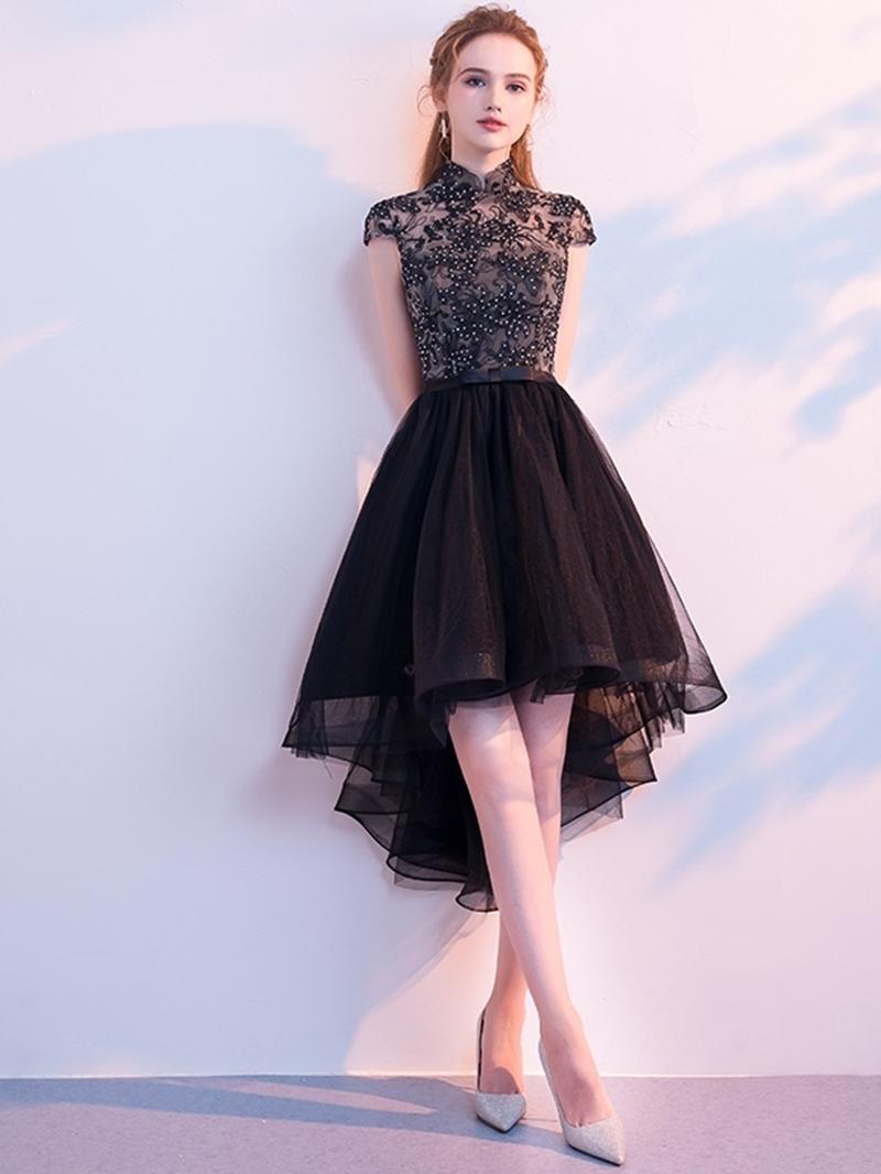 Ericdress Asymmetry Beading High Neck A-Line Homecoming Dress