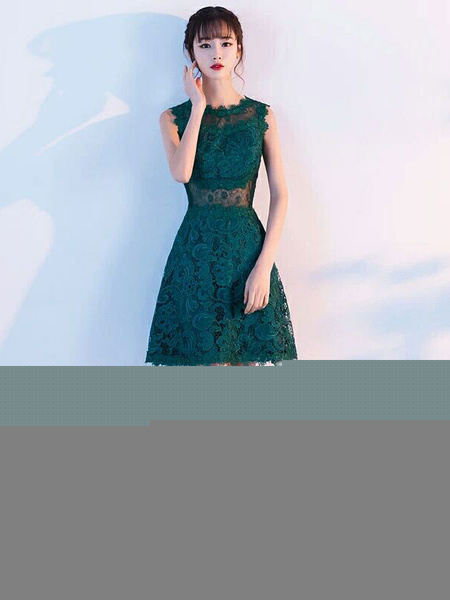 Milanoo Lace Cocktail Dresses Dark Green Short Mother Of The Bride Dress Sleeveless Illusion Wedding Guest Dresses