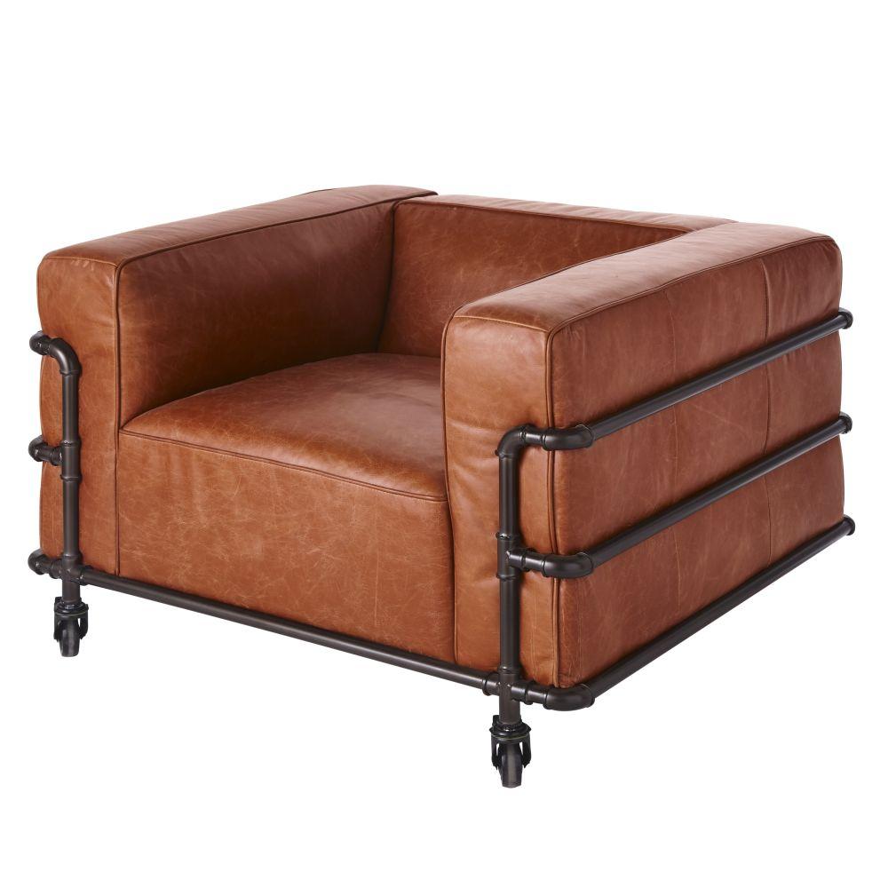 Sessel im Industrial-Stil mit Rollen und Lederbezug in Antikoptik Fabric