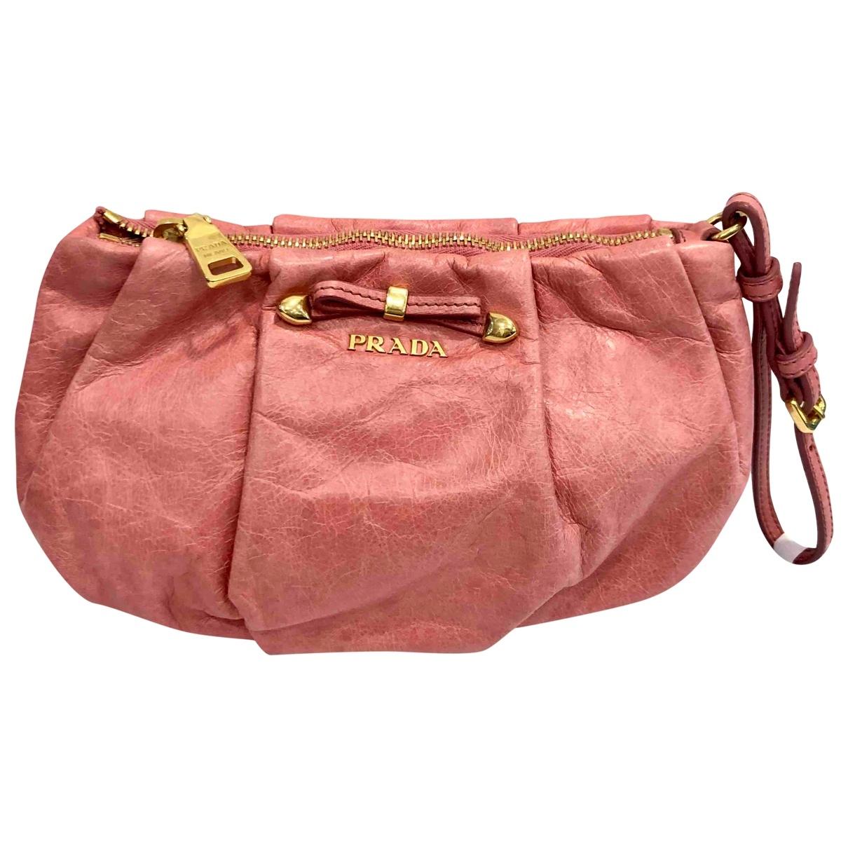 Prada \N Pink Leather Clutch bag for Women \N