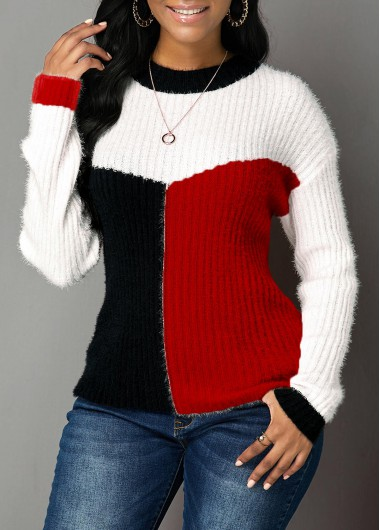 Women'S Red Long Sleeve Round Neck Sweater Xmas Color Block Tunic Casual Top By Rosewe - S