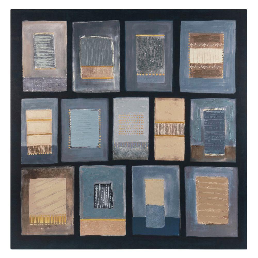 Leinwand, blau, beige und schwarz 75x75