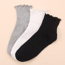 3 Paare Socken mit Rueschenbesatz