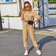 Solid Drawstring Waist Shirt Jumpsuit Without Bag
