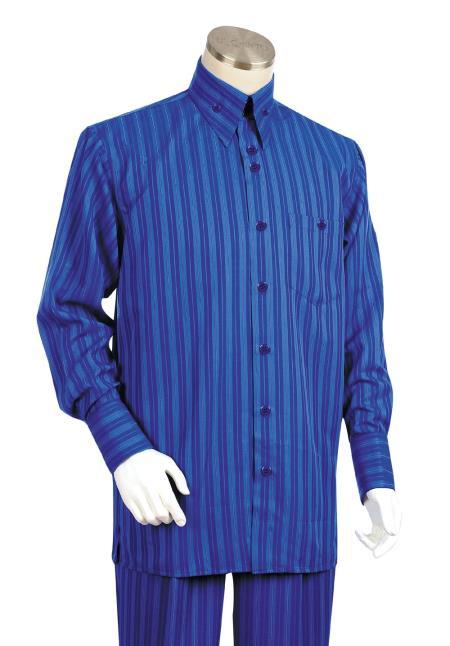 Mens 2 Piece Long Sleeve Walking Suit Triple Stripe Royal