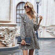 Vestido de manga farol ribete fruncido de leopardo