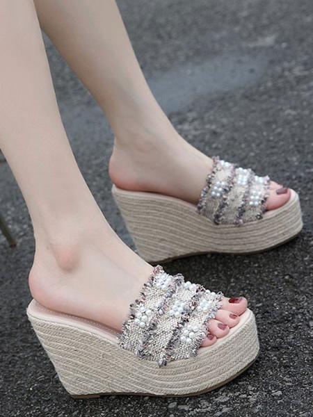Milanoo Women Slide Sandals Cane Open Toe Flatform Wedge Sandal Slippers