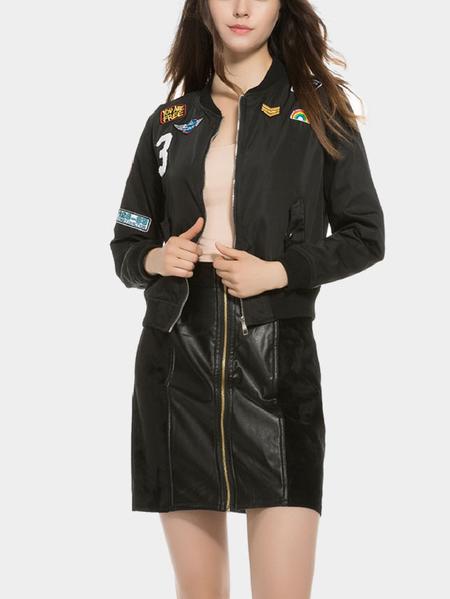 Yoins Black Badge Long Sleeves Zipper Front  jacket