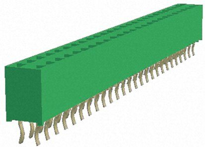 TE Connectivity , AMPMODU HV100 2.54mm Pitch 52 Way 2 Row Straight PCB Socket, Through Hole, Solder Termination