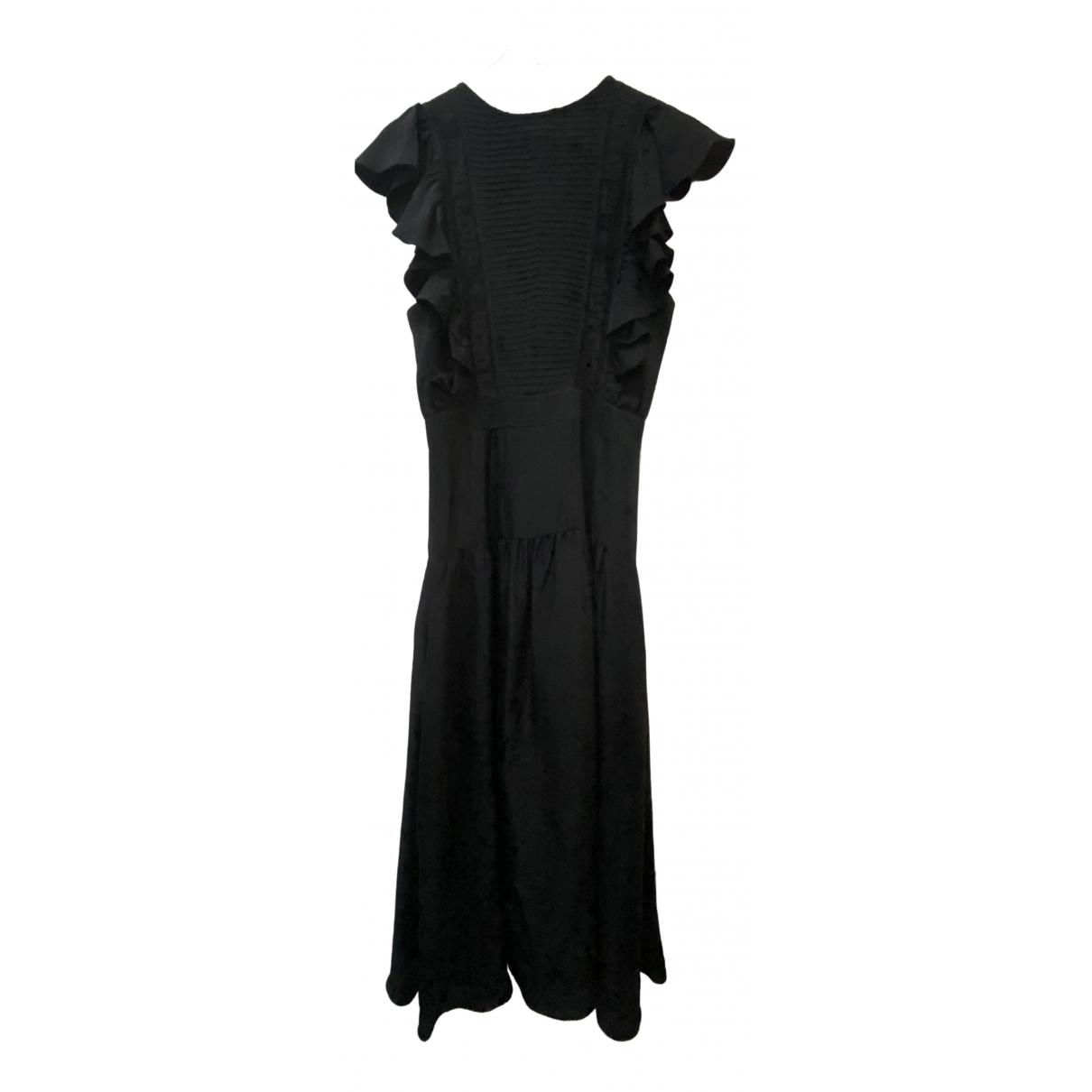 Sandro - Robe   pour femme en soie - noir