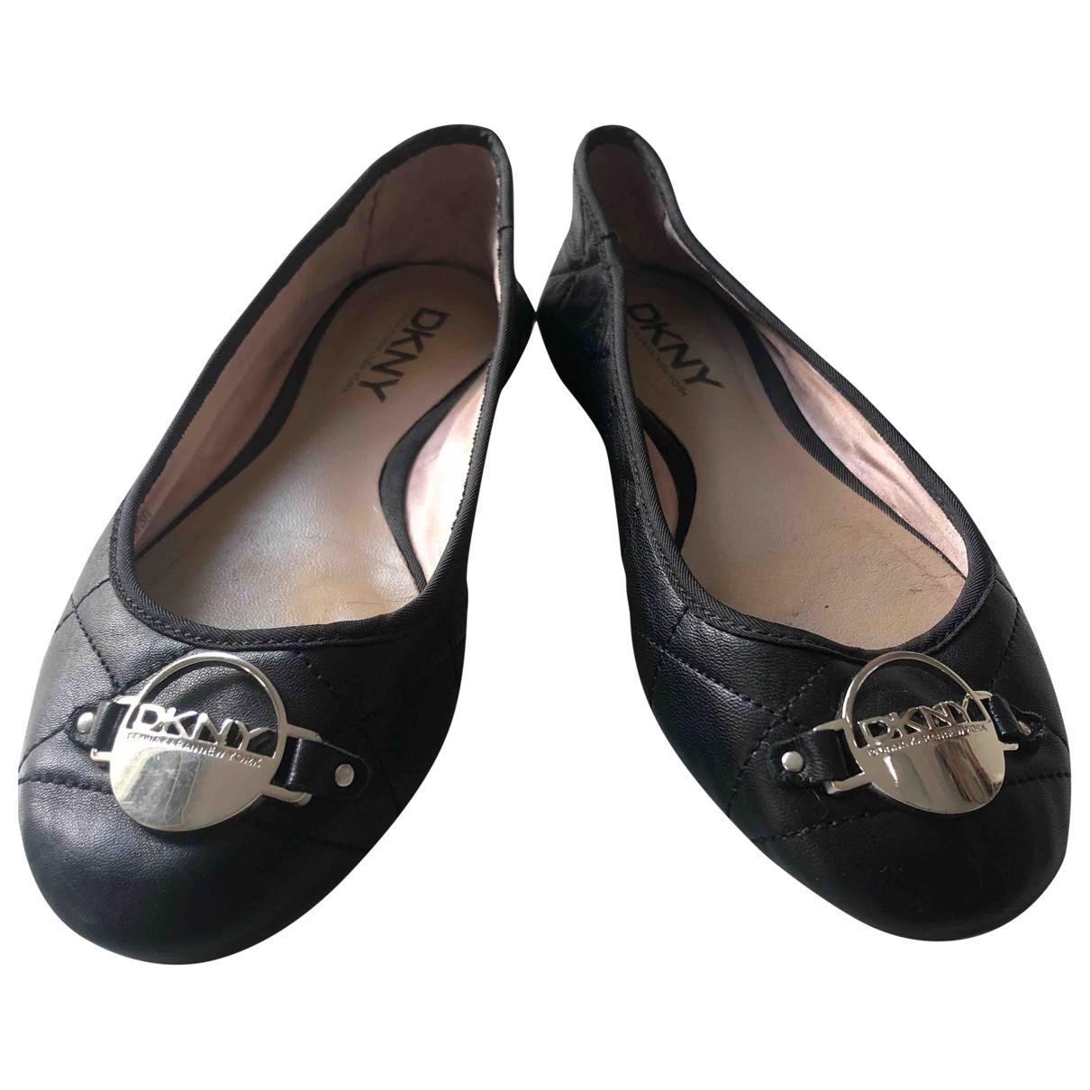 Donna Karan \N Black Leather Ballet flats for Women 6 US