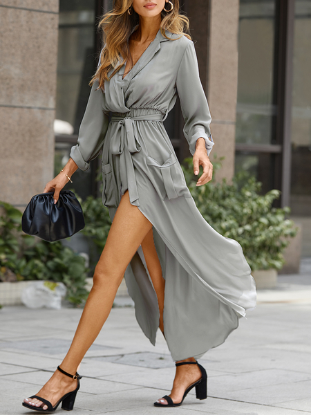 Yoins Shirt Dress with Belted Wrap Front