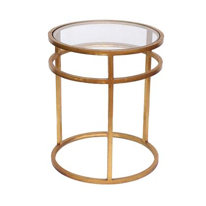 BM204729 Metal Coffee Table with Mirror Accented Circular Top  Gold and