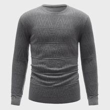 Einfarbiger texturierter Pullover