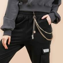 Gemstone Decor Layered Pant Chain